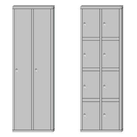 locker: Vector illustration set of metal school sport lockers. Gym locker. Locker door. Deposit lockers