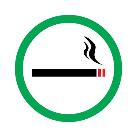 cigar shape: Vector illustration smoking area green sign. Can smoke hear Illustration