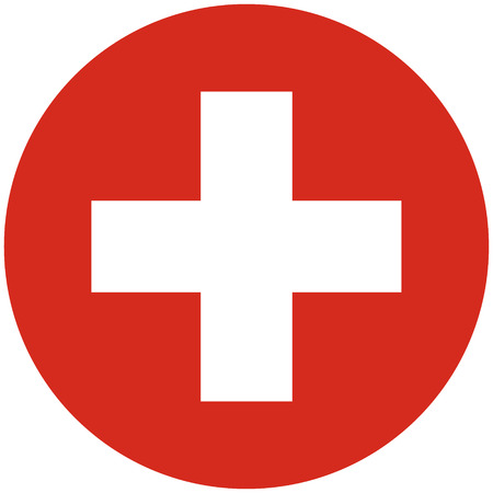 swiss insignia: Vector illustration round flag of Switzerland country. Swiss flag. Button or badge Illustration