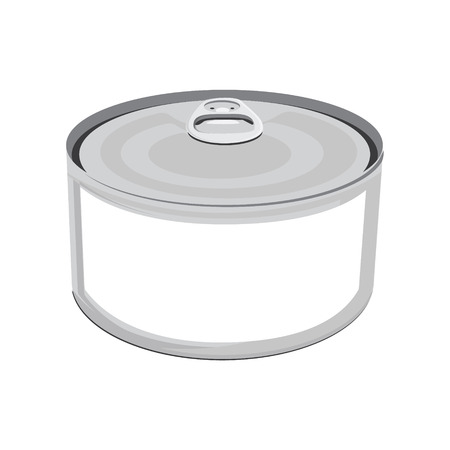 aluminum: Vector illustration fish conserve with white label. Tin can. Blank aluminum can. Can of tuna fish Illustration