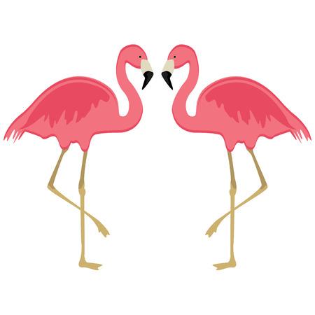 Vector illustration pink flamingo. Exotic bird. Cool flamingo decorative flat design element. Lovely flamingo  イラスト・ベクター素材