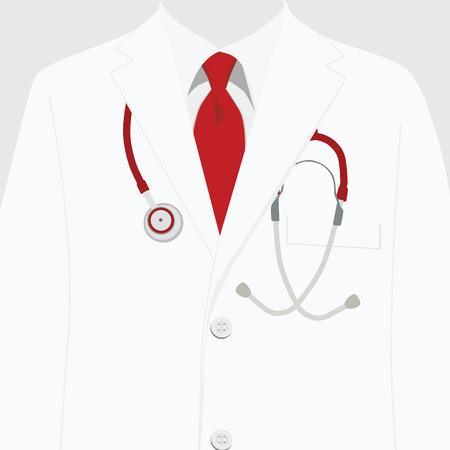 Illustrazione vettoriale abiti da lavoro bianchi. uniforme medica, rubare con cravatta rossa e stetoscopio. cappotto medico ospedaliero