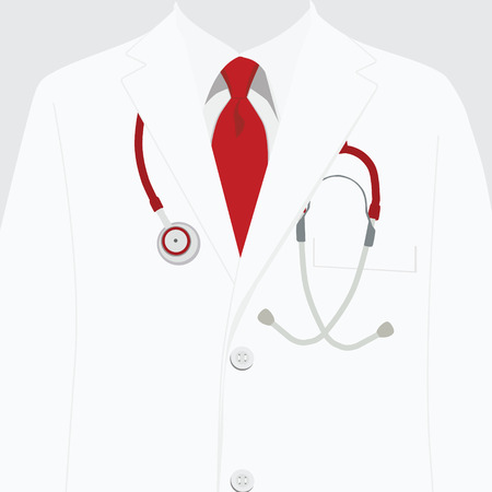 Vector illustration white work clothes. Medical uniform, rob with red tie and stethoscope. Doctor hospital coat