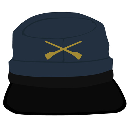 Vector illustration kepi, cap army uniform headgear. Historic general hat Illustration