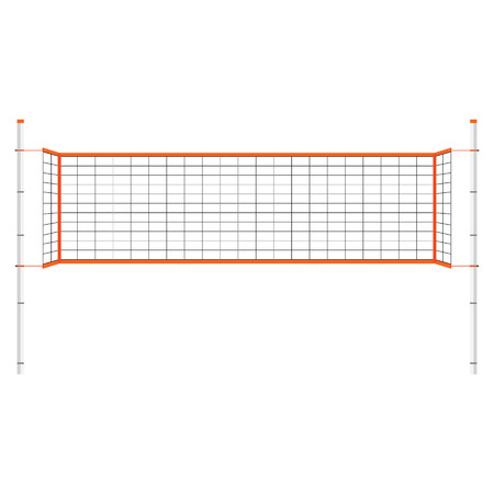Vector illustration  beach volleyball net. Orange indoor volleyball net. Illustration