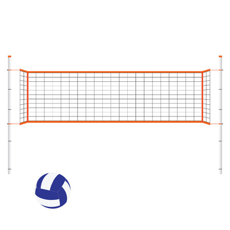 Vector illustration beach volleyball net and ball. Orange indoor volleyball net.