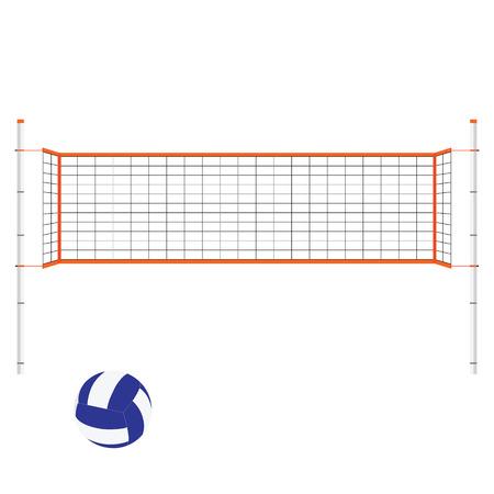 Vector illustration beach volleyball net and ball. Orange indoor volleyball net.