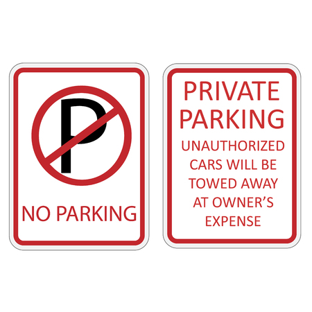 no parking sign: Vector illustration no parking sign and red, white private parking sign