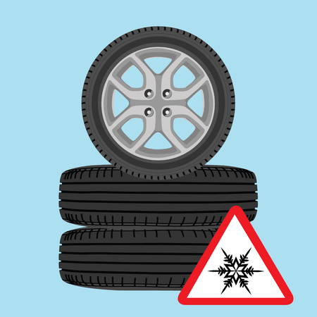 unused: Vector illustration new, shiny winter car wheels and triangle road sign with snowflake. Stack of realistic car wheels. Cold warning Illustration