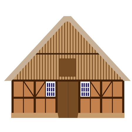 farm house: Old, wooden barn raster isolated, farm house, barn door, farm building