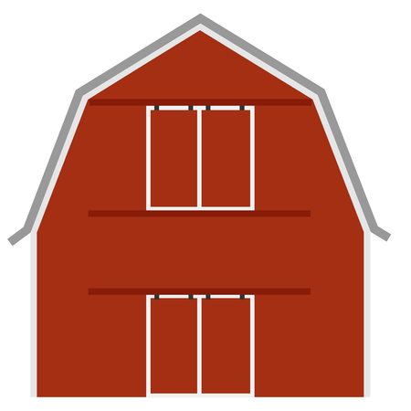 farm house: Old red barn ot farm house, barn door, raster isolated, farming