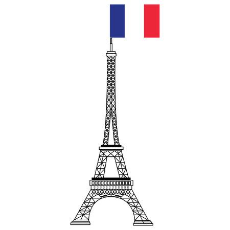 dessin au trait: En France eiffel de construction célèbre tour avec le drapeau de la France raster illustration. Dessin au trait Banque d'images