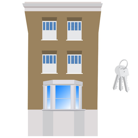 victorian house: Victorian house and keys raster illustration. House exterior front. Hotel building
