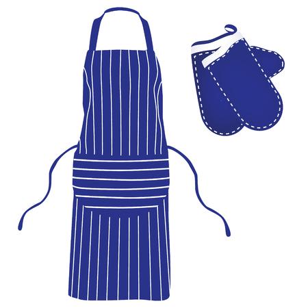 protective apron: Blue kitchen apron. Chef apron and kitchen mittens raster illustration