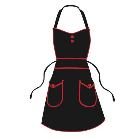 kitchen apron: Black kitchen apron raster isolated, chef apron