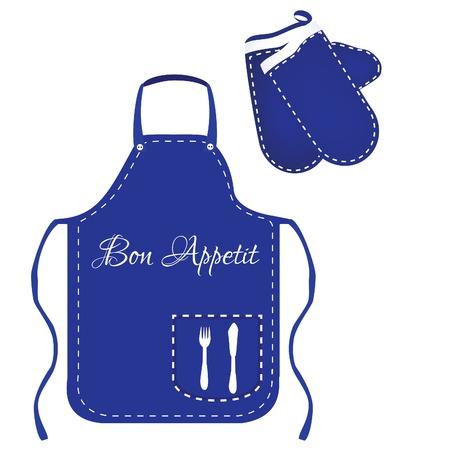 protective apron: Blue apron, chef apron, kitchen apron, kitchen mittens, mittens raster, apron raster Stock Photo