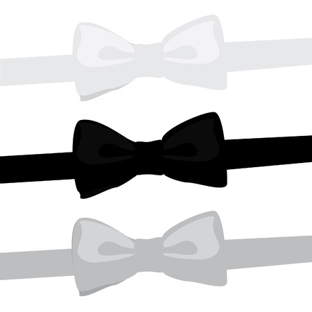 black tie: raster illustration of three bow tie black, white, grey. Man bow tie collection. Classic bow tie