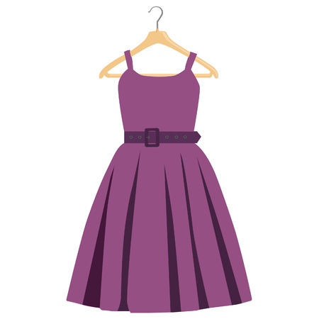 clothes hanger: Fashion woman purple dress on wooden clothes hanger raster isolated