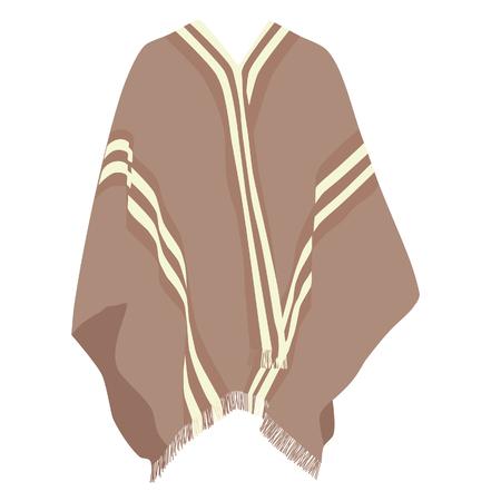 poncho: Mexican poncho, poncho raster, isolated on white, raster Stock Photo