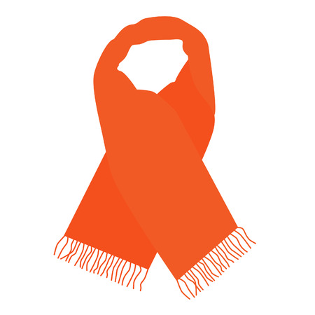 accessory: Orange winter scarf raster isolated, fashionable accessory