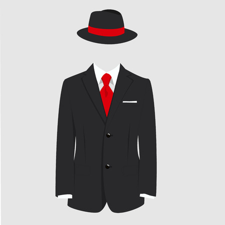 red tie: raster illustration english gentleman concept. Fedora hat and man suit with red tie on grey background Stock Photo