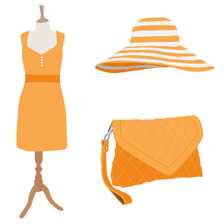 orange dress: Orange summer dress on mannequin, clutch bag and beach hat raster illustration. Woman dress with accessories