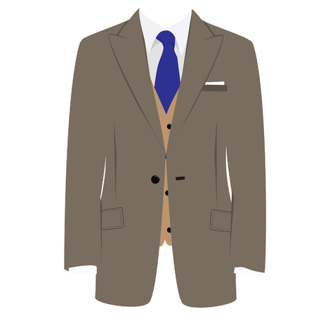 brown shirt: raster illustration of brown man suit with blue tie and white shirt on grey background. Business suit, business, mens suit, man in suit