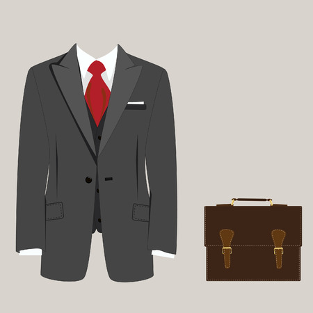 red tie: Elegant grey suit with red tie and brown leather briefcase raster illustration. Businessman concept