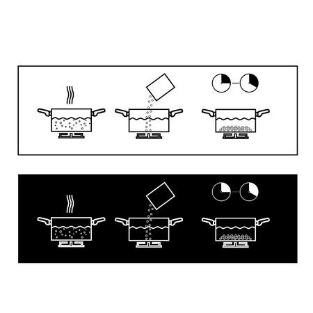 to boiling: Illustration of boiling instruction, instruction icons, teaching Stock Photo