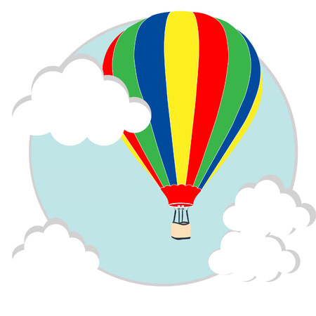white clouds: Illustration of striped hot air balloon in the sky with white clouds raster Stock Photo