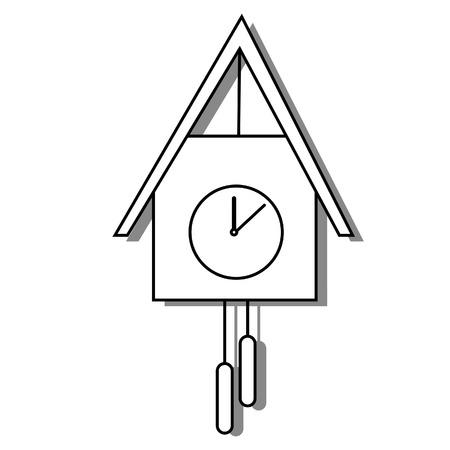 reloj cucu: Cuckoo clock raster outline drawing, bird clock, old clock