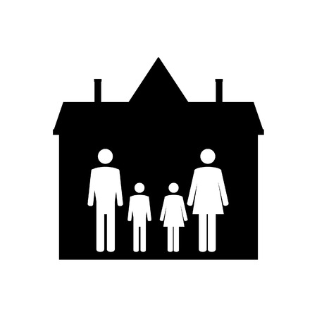 happy family house: Family symbols mother, father, son and daughter in house. Family home. Happy family icon