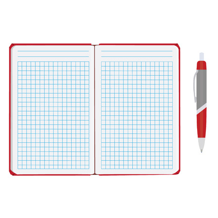 sheet of paper: raster illustration of blank empty notepad, notebook. Opened notebook. Squared sheet paper and ball pen