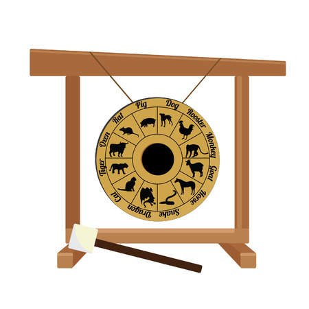 suspend: Chinese golden gong with zodiac and hammer raster isolated, asian musical instrument, sport gong, traditional Stock Photo