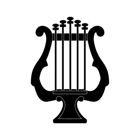 lyre: raster illustration black silhouette lyre or harp. Music instrument