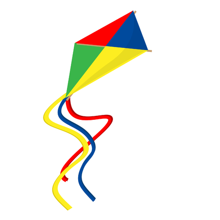 paper kite: Kid flying colorful red, yellow,blue, green paper kite raster isolated