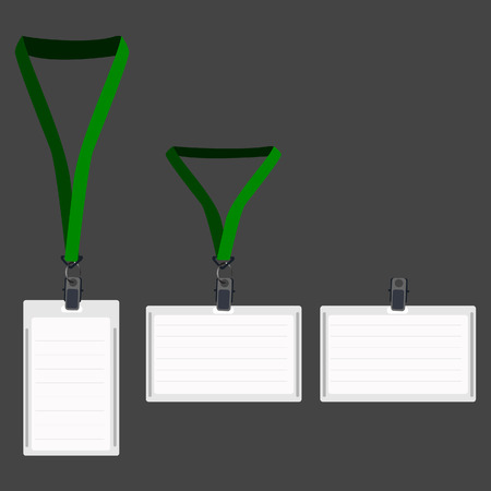 lanyard: Three white blank lanyard with green holder, name badge, vip pass, lanyard pass