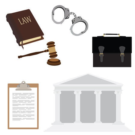 courthouse: raster illustration of law symbols with handcuffs, briefcase, law book, hammer and courthouse. Legal, law, justice icon set