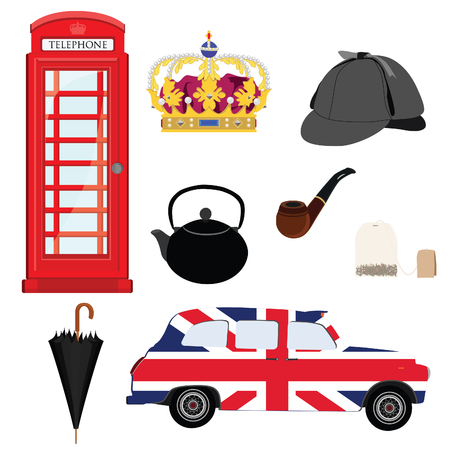 detective: Set of London symbols - crown, tea bag, tea pot, taxi with flag, smoking pipe, red phone and detective hat. Stock Photo