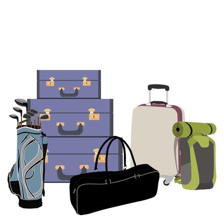 mochila de viaje: ilustración de la trama diferentes tipos de equipaje del aeropuerto. Equipaje, mochila de viaje con la estera de senderismo, la bolsa de palos de golf, bolsa de deporte Foto de archivo