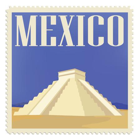 itza: raster illustration vintage post stamp with chichen  itza maya  monument