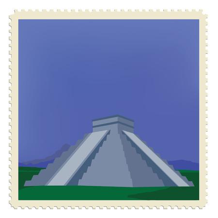 chichen itza: raster illustration vintage post stamp with chichen itza maya monument