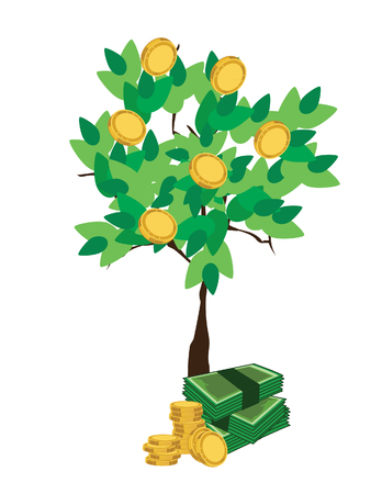stylized banking: Money tree, financial, money icon, growing money