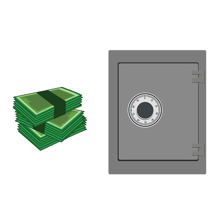 bank safe: raster illustration of closed bank safe and  banknotes. Money safe icon. Steel safe. Security concept with metal safe icon