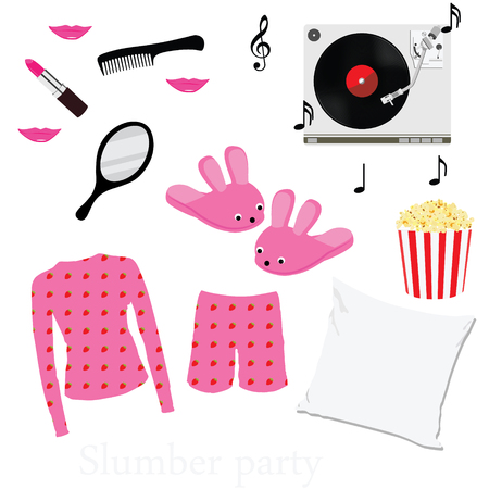 slumber: Slumber party invitation symbols, elements. Sleepover. Pajama home slippers popcorn music mirror and comb pillow