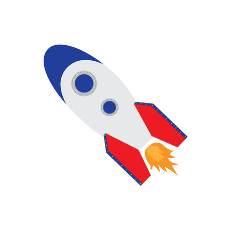 rocketship: raster illustration of space ship rocket, rocket launch raster isolated icon, rocket toy