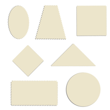 sello: ilustración de la trama colección de sellos de franqueo. Diversas formas de conjunto de sello de correos. , sellos postales vacíos en blanco Foto de archivo