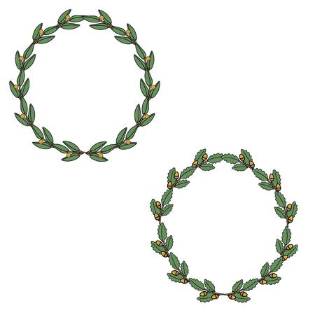 wreaths: raster illustration leaf round wreaths. Floral wreaths. Decoration element