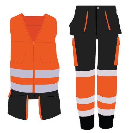 coverall: raster illustration of orange worker jacket and pants. Protective safety jacket and pants with reflective stripes Stock Photo