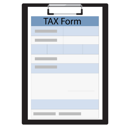 income tax: raster illustration black clipboard with income tax form. Federal income tax form. Tax return Stock Photo